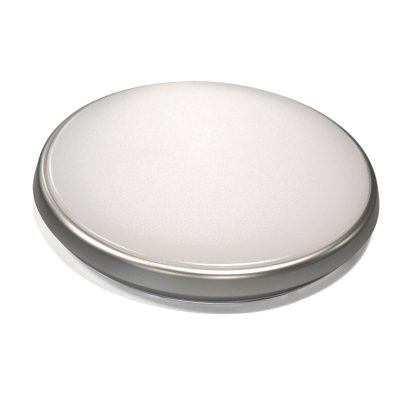 Round 28W LED Ceiling Light - Silver Frame in Cool White - LEDOYS28WRNDSILCW