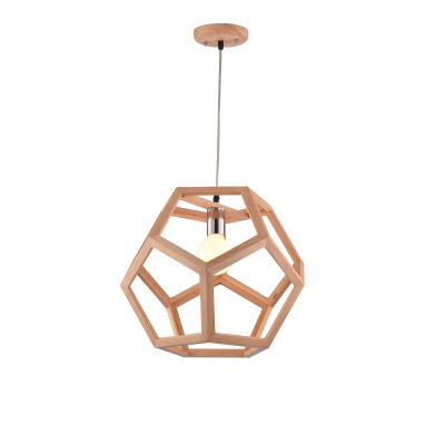 Cage 400 Wooden Pendant Light - P1229CAGE40WDN