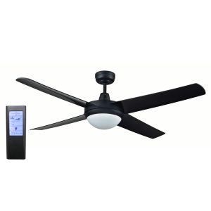 Rotor LED Light 52'' Black Ceiling Fan with ABS Blades + BL Touch Pad Remote - ROTORBLK2 - TBLRem