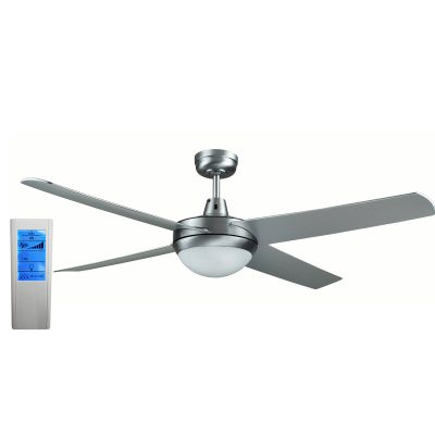 Rotor LED Light 52'' Brushed Aluminum Ceiling Fan with ABS Blades + WH Touch Pad Remote - ROTORS2 - TWHRem